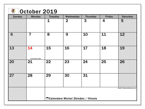 October 2019 Calendar, with the holidays of Illinois. Holidays calendar to print free.