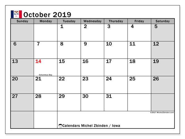 October 2019 Calendar, with the holidays of Iowa. Free printable calendar with public holidays.