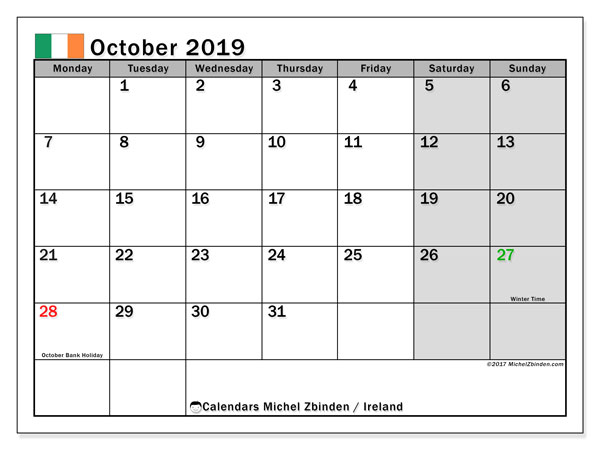 Calendar October 2019, with the holidays of Ireland. Monthly planner to print free.