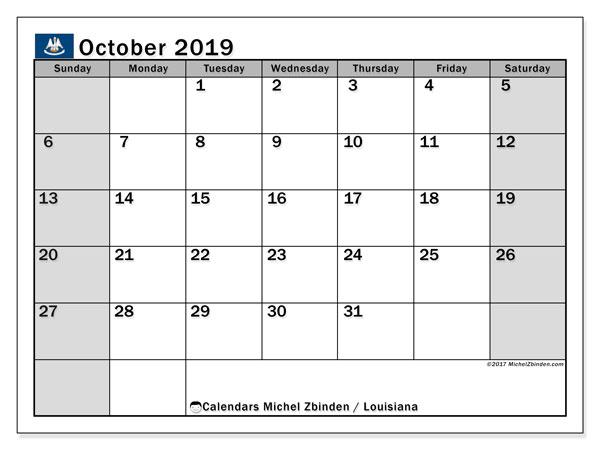 October 2019 Calendar, with the holidays of Louisiana. Holidays calendar to print free.
