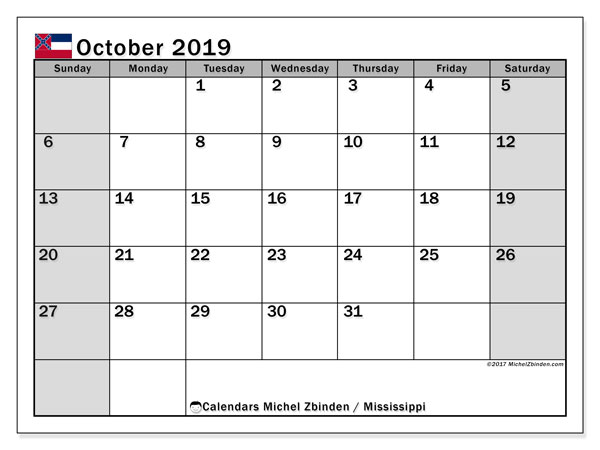 October 2019 Calendar, with the Mississippi holidays. Free printable calendar with public holidays.