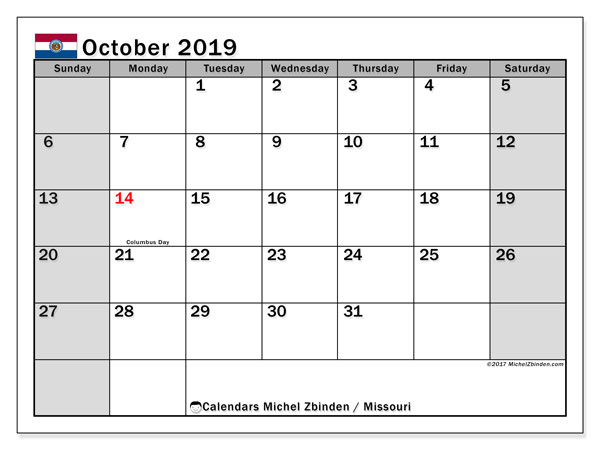 October 2019 Calendar, with the holidays of Missouri. Holidays calendar to print free.