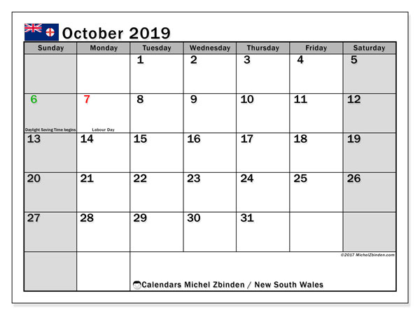 October 2019 Calendar, with the holidays of New South Wales. Free printable calendar with public holidays.