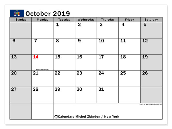 October 2019 Calendar, with the holidays of New York. Free printable calendar with public holidays.