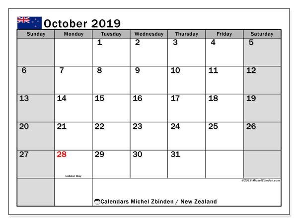 Calendar October 2019, with the holidays of New Zealand. Free printable bullet journal.