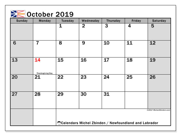 Calendar October 2019, with the holidays of Newfoundland and Labrador. Free bullet journal to print.