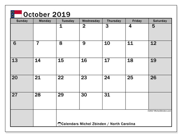 October 2019 Calendar, with the holidays of North Carolina. Holidays calendar to print free.