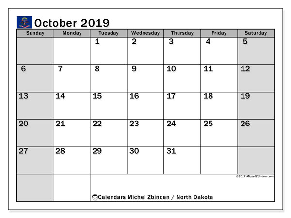 October 2019 Calendar, with the holidays of North Dakota. Free printable calendar with public holidays.