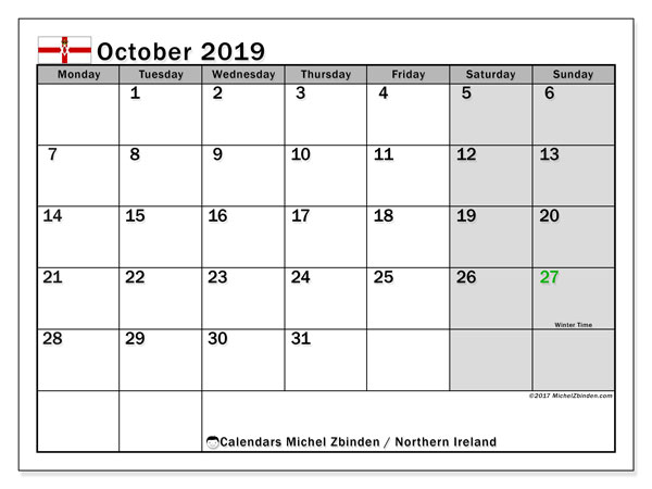 October 2019 Calendar, with the holidays of Northern Ireland. Free printable calendar with public holidays.