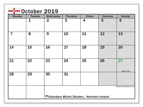 October 2019 Calendar  - Northern Ireland. Printable calendar: public holidays.