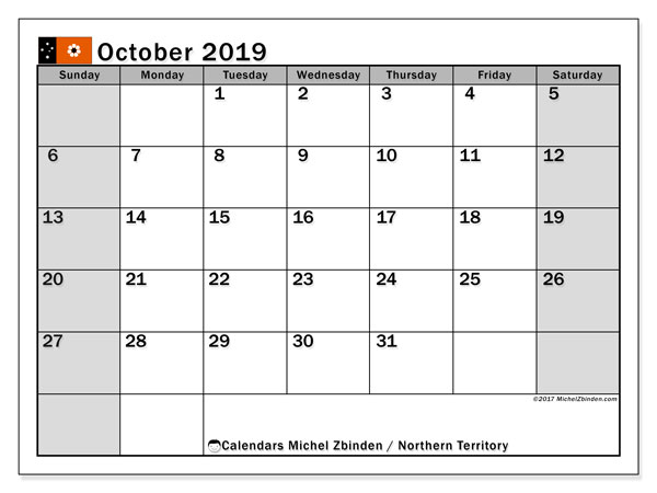 Calendar October 2019, with the holidays of Northern Territory. Calendar for the month to print free.