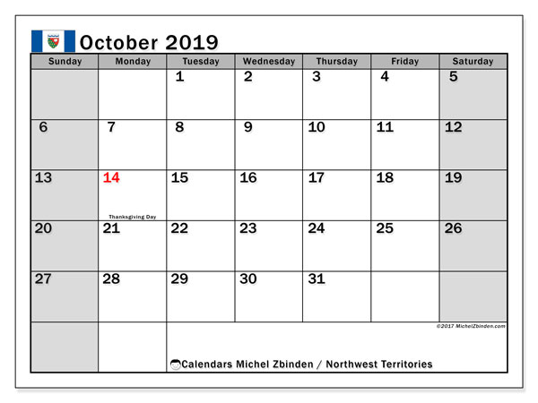 October 2019 Calendar, with the holidays of Northwest Territories. Holidays calendar to print free.
