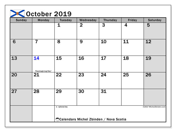 Calendar October 2019, with the holidays of Nova Scotia. Monthly calendar to print free.
