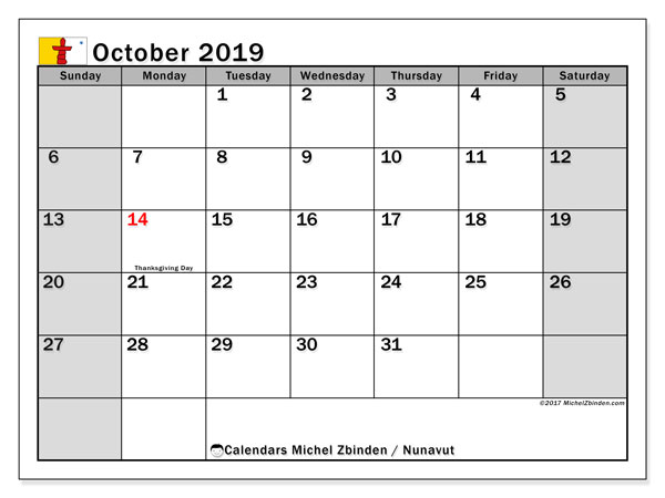 Calendar October 2019, with the holidays of Nunavut. Free calendar to print.