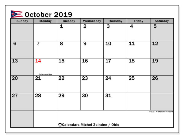 October 2019 Calendar, with the holidays of Ohio. Free printable calendar with public holidays.