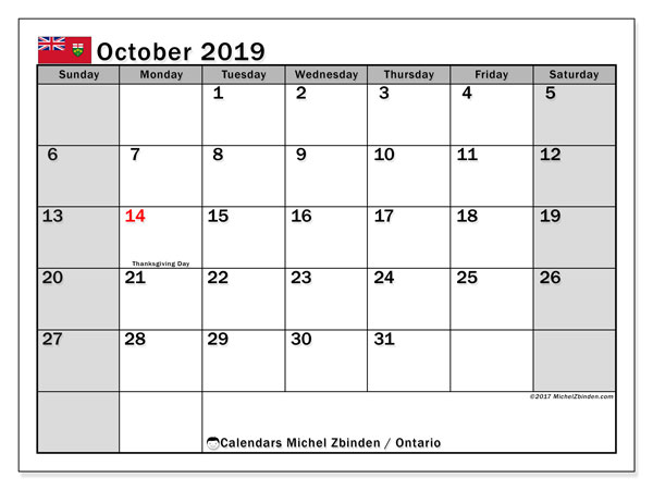 Calendar October 2019, with the holidays of Ontario. Free printable monthly planner.