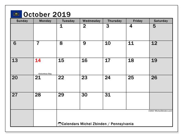 October 2019 Calendar, with the holidays of Pennsylvania. Holidays calendar to print free.