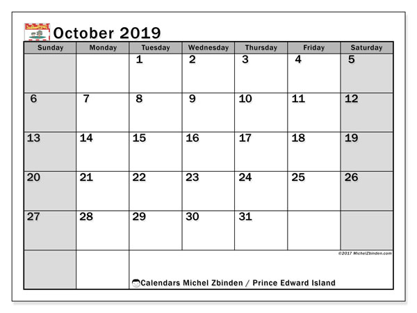 Calendar October 2019, with the holidays of Prince Edward Island. Free bullet journal to print.