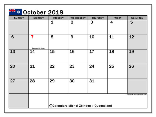 Calendar October 2019, with the holidays of Queensland. Free printable bullet journal.