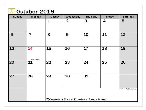 October 2019 Calendar, with the holidays of Rhode Island. Holidays calendar to print free.