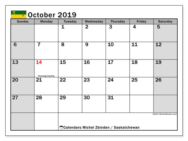 Calendar October 2019, with the holidays of Saskatchewan. Free planner to print.