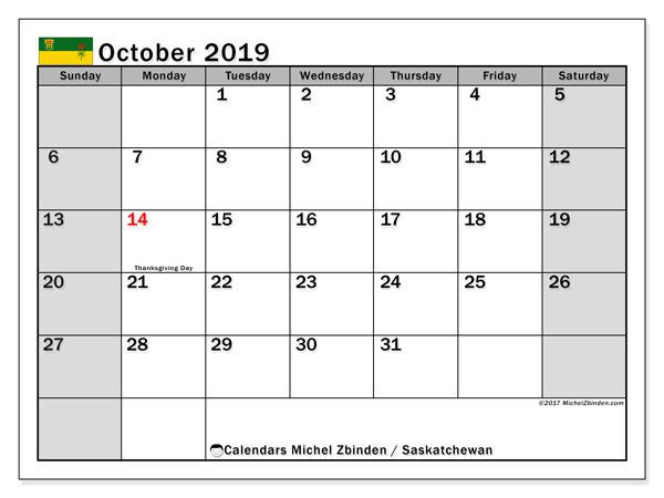 October 2019 Calendar, with the holidays of Saskatchewan. Holidays calendar to print free.