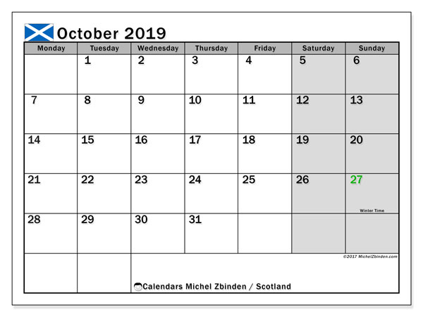 October 2019 Calendar, with the holidays of Scotland. Free printable calendar with public holidays.