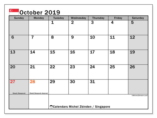 October 2019 Calendar, with the holidays of Singapore. Free printable calendar with public holidays.
