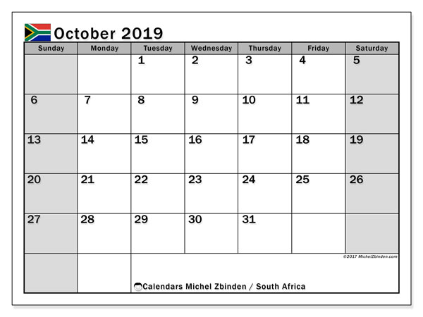 Calendar October 2019, with the holidays of South Africa. Monthly calendar to print free.