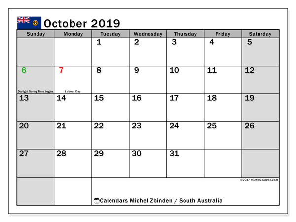 Calendar October 2019, with the holidays of South Australia. Planner to print free.