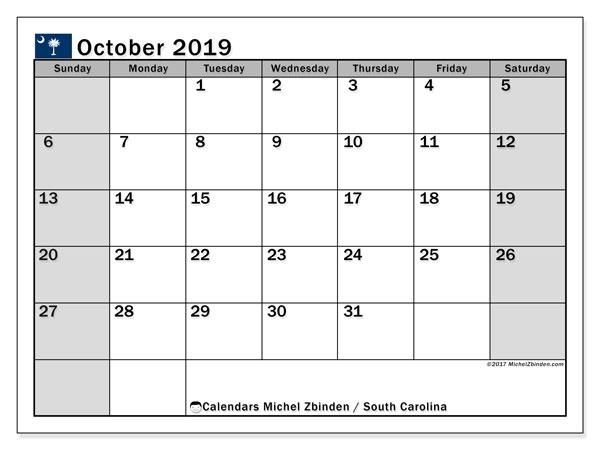 October 2019 Calendar, with the holidays of South Carolina. Holidays calendar to print free.