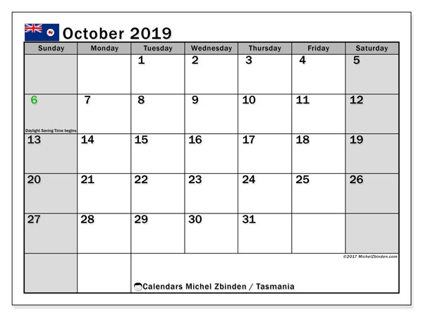 October 2019 Calendar, with the holidays of Tasmania. Free printable calendar with public holidays.