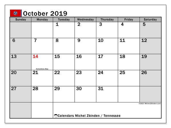 October 2019 Calendar, with the holidays of Tennessee. Holidays calendar to print free.