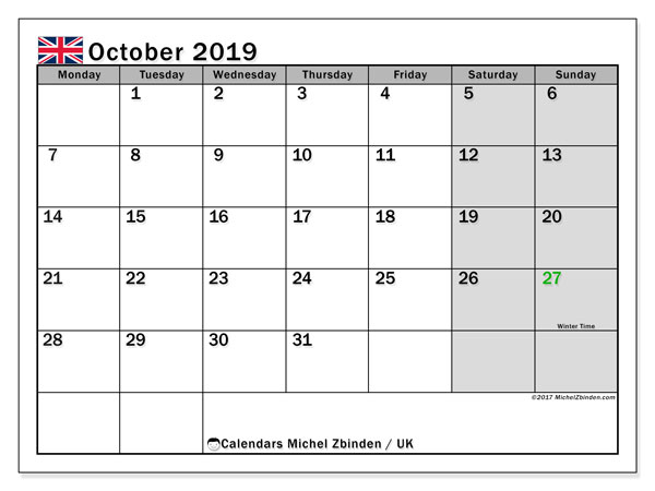 Calendar October 2019, with the holidays of the UK. Free printable bullet journal.