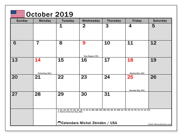 October 2019 Calendar, with the holidays of the USA. Holidays calendar to print free.