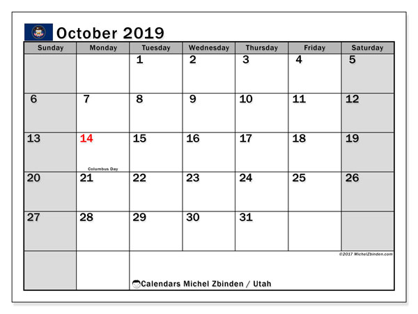 October 2019 Calendar, with the holidays of Utah. Free printable calendar with public holidays.