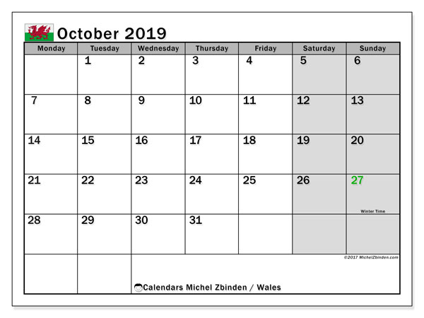 October 2019 Calendar, with the holidays of Wales. Holidays calendar to print free.