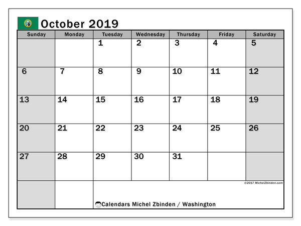 October 2019 Calendar, with the holidays of Washington. Free printable calendar with public holidays.