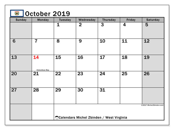 October 2019 Calendar, with the holidays of West Virginia. Free printable calendar with public holidays.
