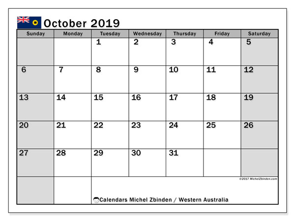 October 2019 Calendar  - Western Australia. Printable calendar: bank holidays.