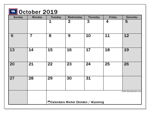 October 2019 Calendar, with the holidays of Wyoming. Holidays calendar to print free.