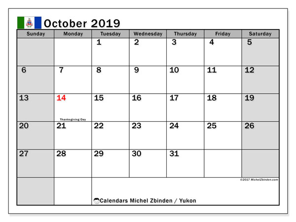Calendar October 2019, with the holidays of Yukon. Free printable monthly calendar.