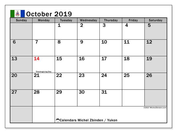 October 2019 Calendar  - Yukon. Printable calendar: official holidays.