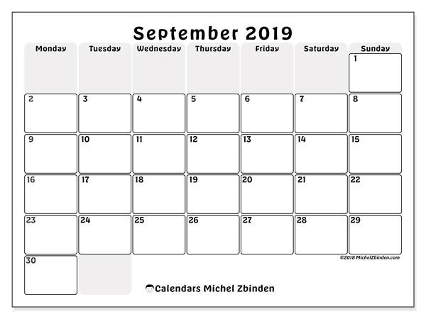 September 2019 Calendar, 44MS. Free printable calendar.