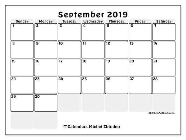 Calendars September 2019 Ss Michel Zbinden En