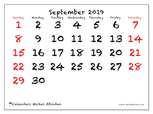 September 2019 Calendar, 46SS. Monthly planner to print free.