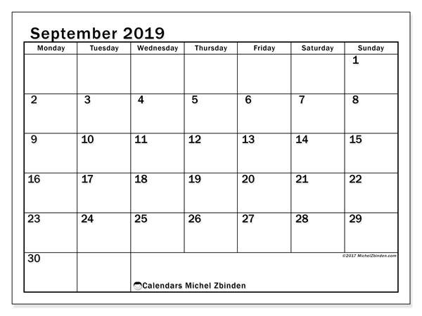 September 2019 Calendar, 50MS. Free printable calendar.
