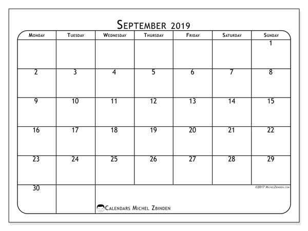 September 2019 Calendar, 51MS. Monthly planner to print free.