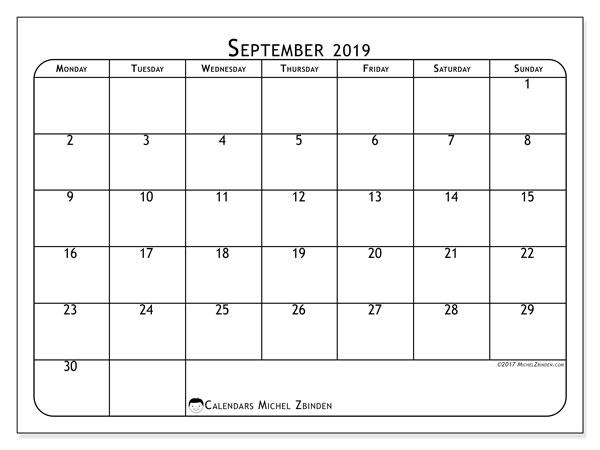 September 2019 Calendar, 51MS. Free printable planner.