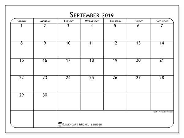 September 2019 Calendar, 51SS. Calendar for the month to print free.